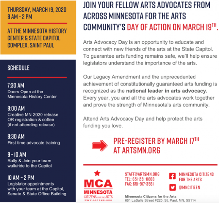 Arts Alert: Registration for Minnesota's Arts Advocacy Day Mar. 19 Now Open