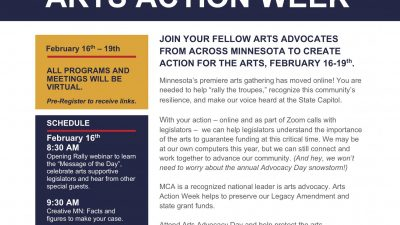 Arts Alert: Virtual Arts Advocacy Week Will Be Feb. 16 to 19, 2021!